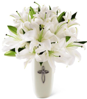 Sympathy arrangement with white lilies in a keepsake vase with a silver cross for delivery to funeral homes and homes, Sunnyslope Floral