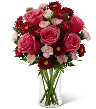 A romantic pink & red flower arrangement of pink roses, pink miniature carnations & red accent flowers for delivery, Sunnyslope Floral