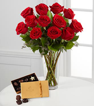 Dozen Red Roses and Godiva Chocolates