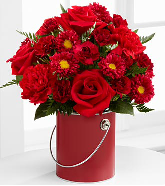 The Color Of Love Red Paint Can Bouquet