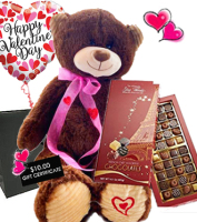 For valentines delivery in Grand Rapids metro area - a special price for THE WORKS PACKAGE of truffles, balloon & plush bear, Sunnyslope Floral