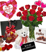 Dozen red roses with THE WORKS special offer gift package with truffles, rose petals, plush bear, balloon & $10 gift certificate, Sunnyslope Floral