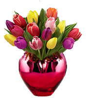 Send valentine bouquet of tulip flowers in a red heart shape vase for valentines delivery, Sunnyslope Floral the Valentine Flower Florists