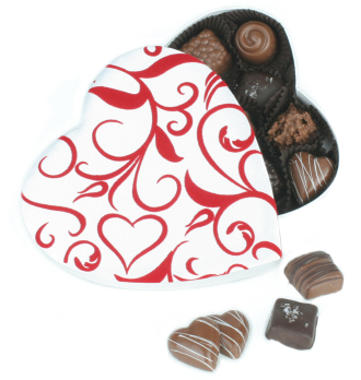 White & Red Heart Box with Assorted Chocolates