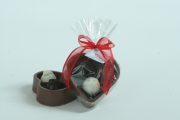 6 oz Solid Milk Chocolate Heart with Three Truffles, in Cello Bag, Tied with Valentine Ribbon & Hang Tag