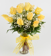 Med Stem Dozen Roses - YELLOW