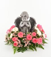 Praying Cherub with Flowers