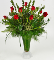 12 Roses Frosted Crystal Vase