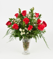 12 Medium Roses in Crystal Vase