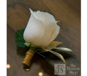 White Rose Boutonniere with Gold Accents