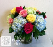 Dozen Mixed Roses with Hydrangea