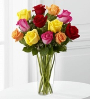 Midwood Flower Shop's Mixed Colored Rose Bouquet