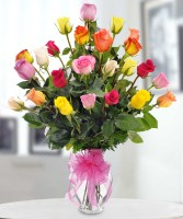 Midwood Flower Shop's 24 Mixed Colored Rose Bouquet
