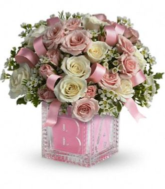 Babys First Block by Teleflora Pink