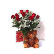 CLASSIC DOZEN ROSES WITH BEAR AND CHOCOLATES