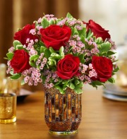 Roses in a Mosaic Vase