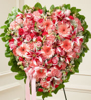 Pink Mixed Flower Heart