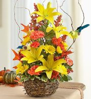 Autumn Birds Nest of Flowers
