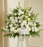 Sympathy Funeral Basket-All White Flowers