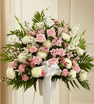 Sympathy Funeral Basket- Pink and White Flowers