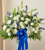 Sympathy Funeral Basket-White and Blue Flowers