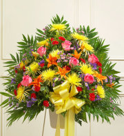 Sympathy Funeral Basket-Assorted Bright Color
