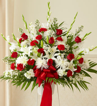 Sympathy Funeral Basket-Red and White Flowers
