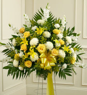 Sympathy Funeral Basket-White and Yellow Flowers