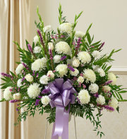 Sympathy Funeral Basket-White and Purple Flowers