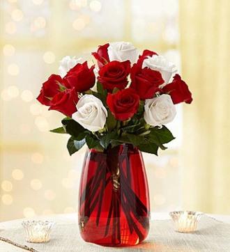 Peppermint Rose Vase