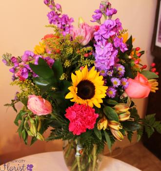 Sunflower & Rose Vase
