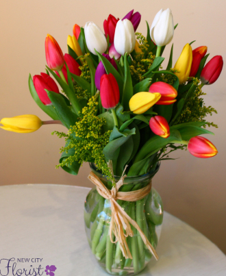 Assorted Tulips in a Vase