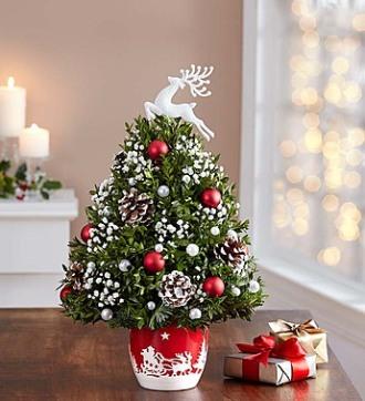 Santa's Sleigh Ride Holiday Flower Tree