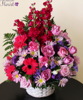 Pink & Purple Funeral Basket
