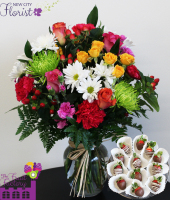 Assorted Flower Vase w/Choc. Strawberries