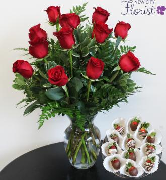 Dozen Red Roses & Doz. Chocolate Strawberries