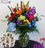 Assorted Blue Hydrangea Vase w/ Choc. Strawberries