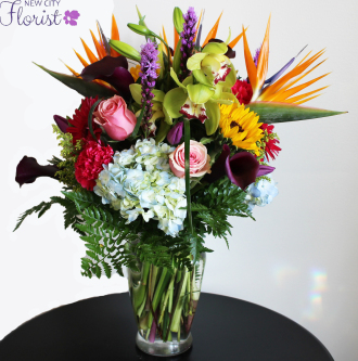Hydrangea, Sunflower, Orchid, and Rose Vase