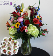 Elegant Mix Tall Vase w/Choc. Strawberries