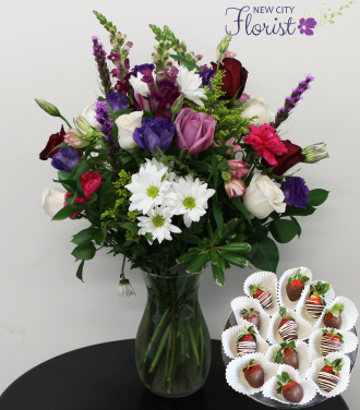White & Purple Assorted Vase w/Choc. Strawberries
