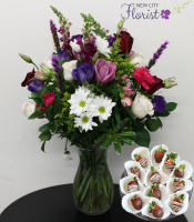 White & Purple Assorted Vase w/Choc. Strawberries