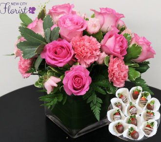 Pinkalicious Cube Vase w/Choc. Strawberries