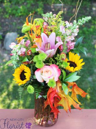 Orange Mason Jar Bouquet