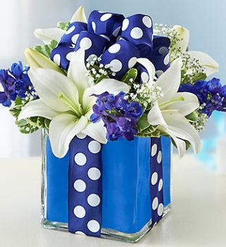 Wrapped Up Blue Bouquet