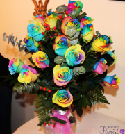 18 Rainbow Roses