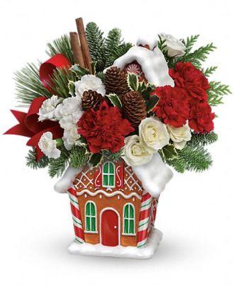 Teleflora\'s Gingerbread Cookie Jar Bouquet