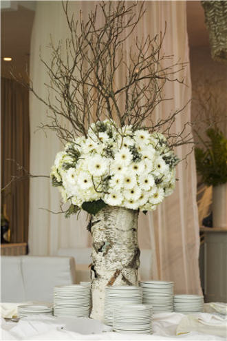 Birch tree centerpiece