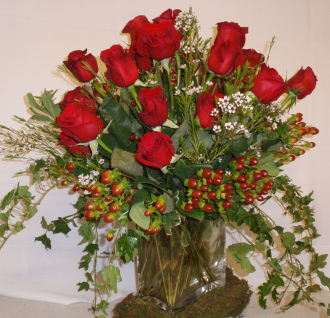 18 Red Roses  Vased with filler