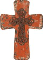 Vintage Wood Cross Red Small