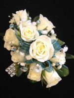 White Spray Rose Wristlet Deluxe (includes rhinestone gem accents)